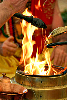 Ghee is considered pure and is given as an offering to the deities via the principle of  Tej , leading us from darkness to light
