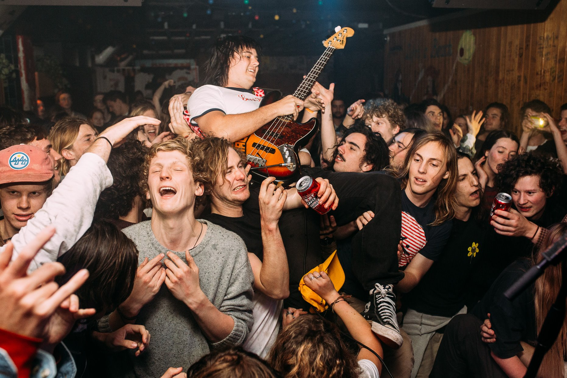 Skegss getting amongst the crowd at Rocket last month. Photo by Daniel Marks.