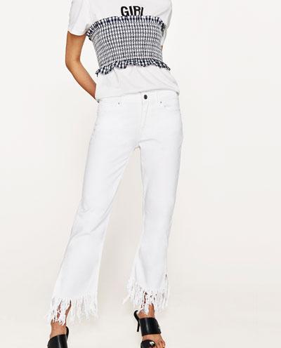 Zara flared ripped jeans