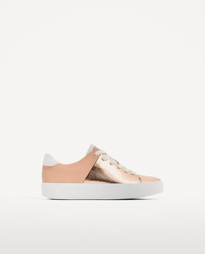 gold platform tennis shoes