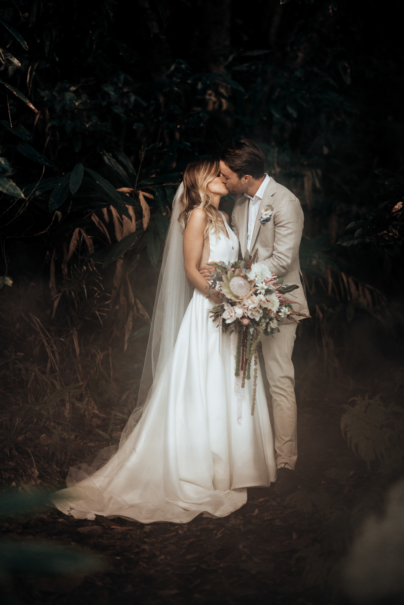 Green Smoke Bomb in the Rainforest for this beautiful Byron Bay wedding