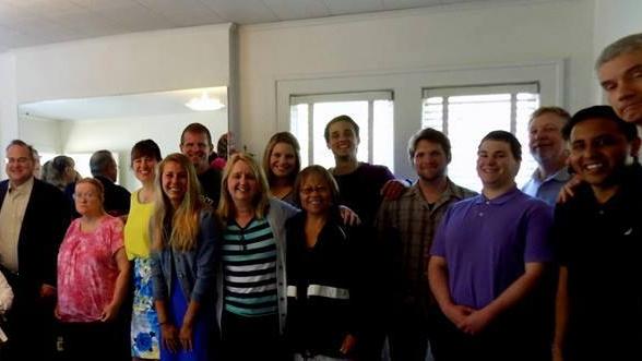 Christian Fellowship after a baptism and worship service.