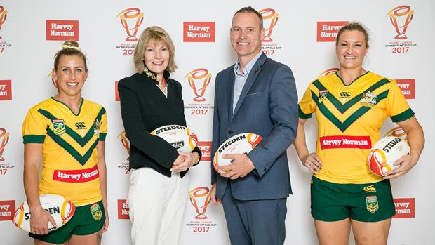 Jillaroos players Sam Bremner and Ruan Sims are joined by Harvey Norman CEO Katie Page and RLWC 2017 CEO Andrew Hill. Credit: Narelle Spangher.