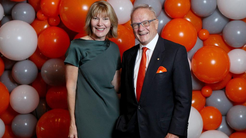Harvey Norman CEO Katie Page and Tony Shepherd at yesterday's GWS Giants lunch in Sydney. Picture: Hollie Adams.