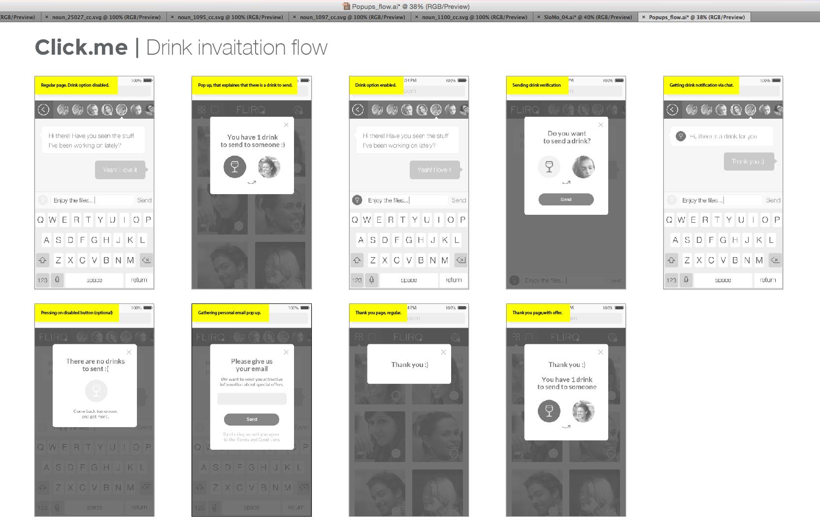 App flow. Work in progress.