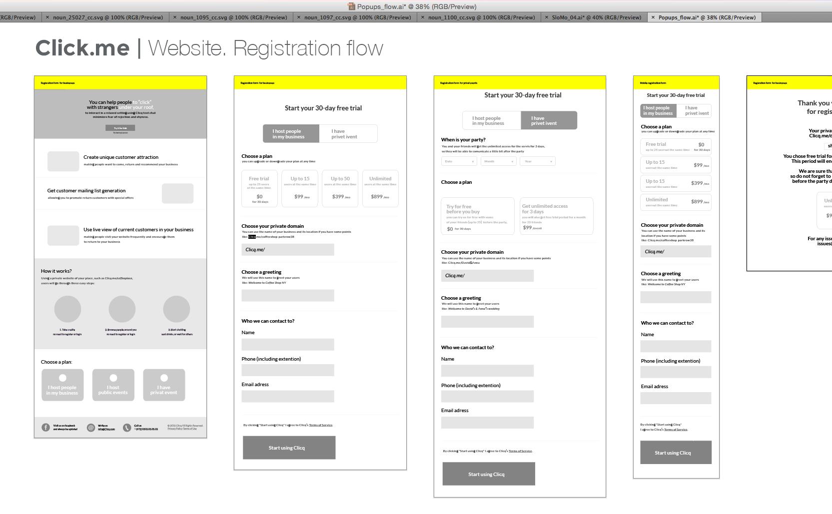 Web site, registration flow. Work in progress.