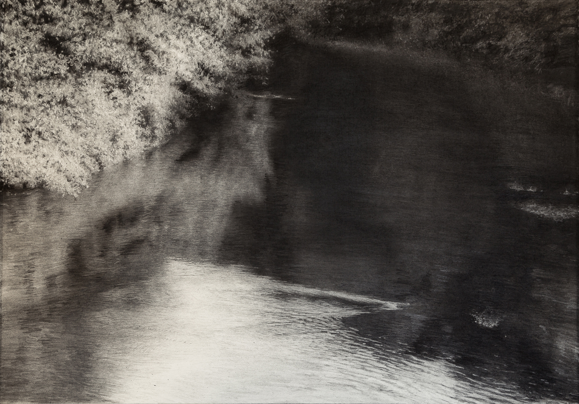 Along This River,  2018 (charcoal, 52 x 76 cm)