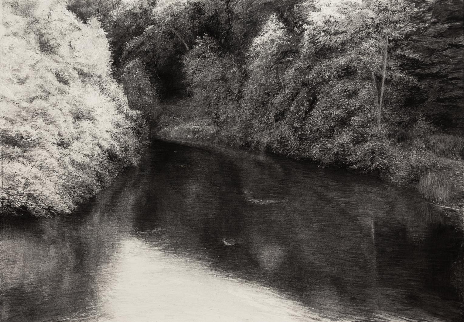 Silent River,  2019 (charcoal 52.5 x 75 cm)