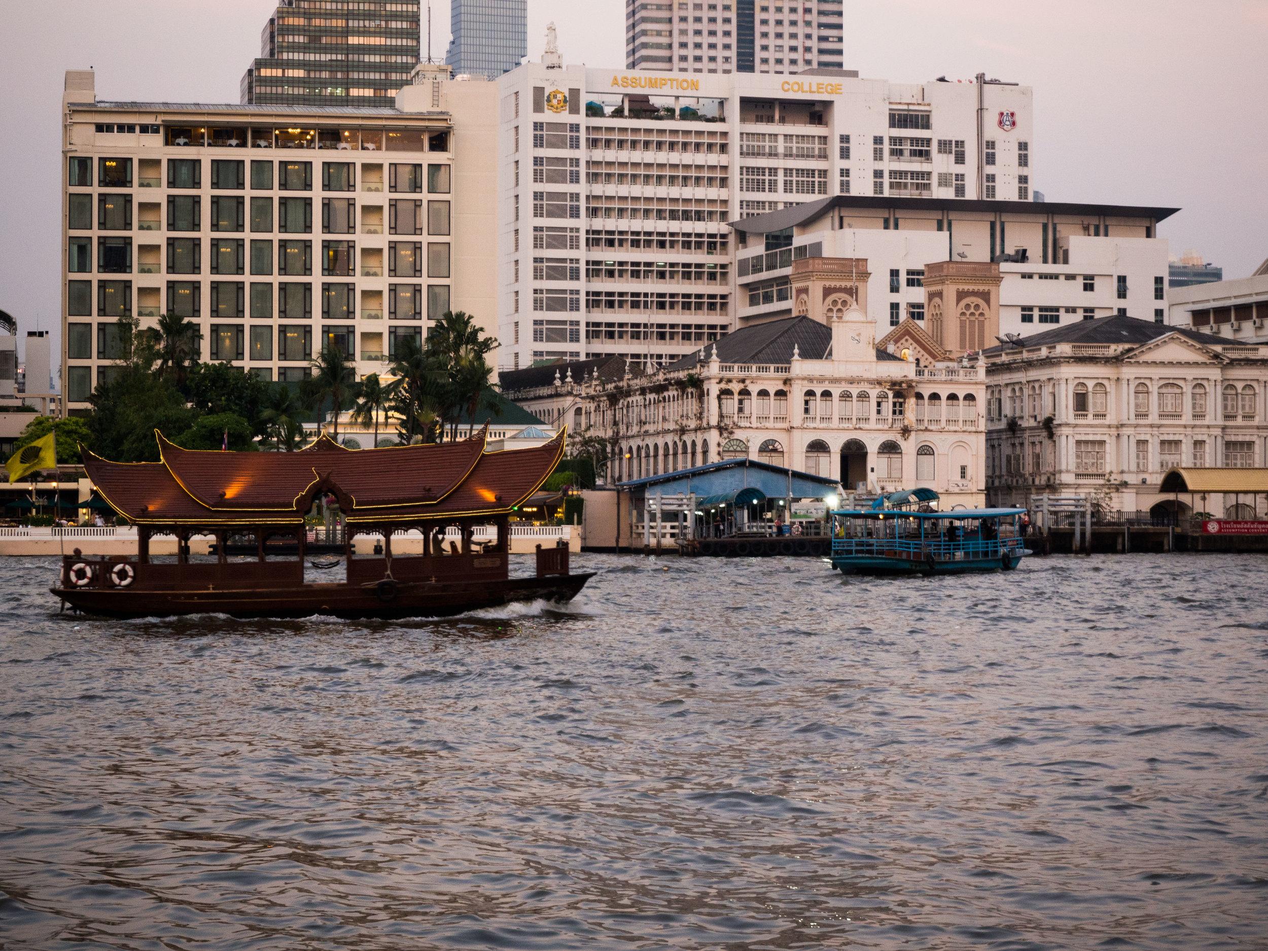 Evening view of the Chao Praya from The Peninsula Bangkok