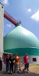 The egg-shaped anaerobic digester at the Nashua, NH Wastewater Treatment Facility.