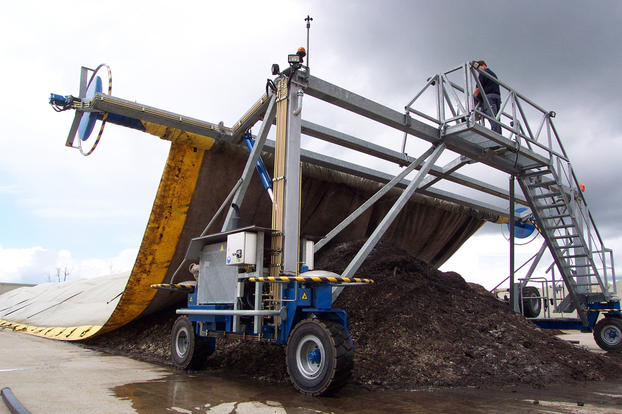 Biosolids composting at Moncton relies on specialty fabric covers to ensure quality, reduce odors, and control moisture. The facility processes >10,000 tons of wastewater solids annually.