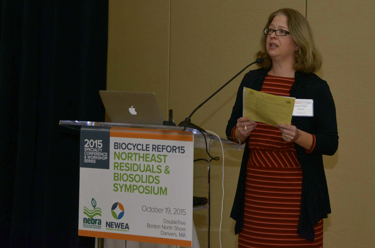 Elaine Sistare, Chair, NEWEA Residuals Management Committee, moderates.  C. Tyler photo.