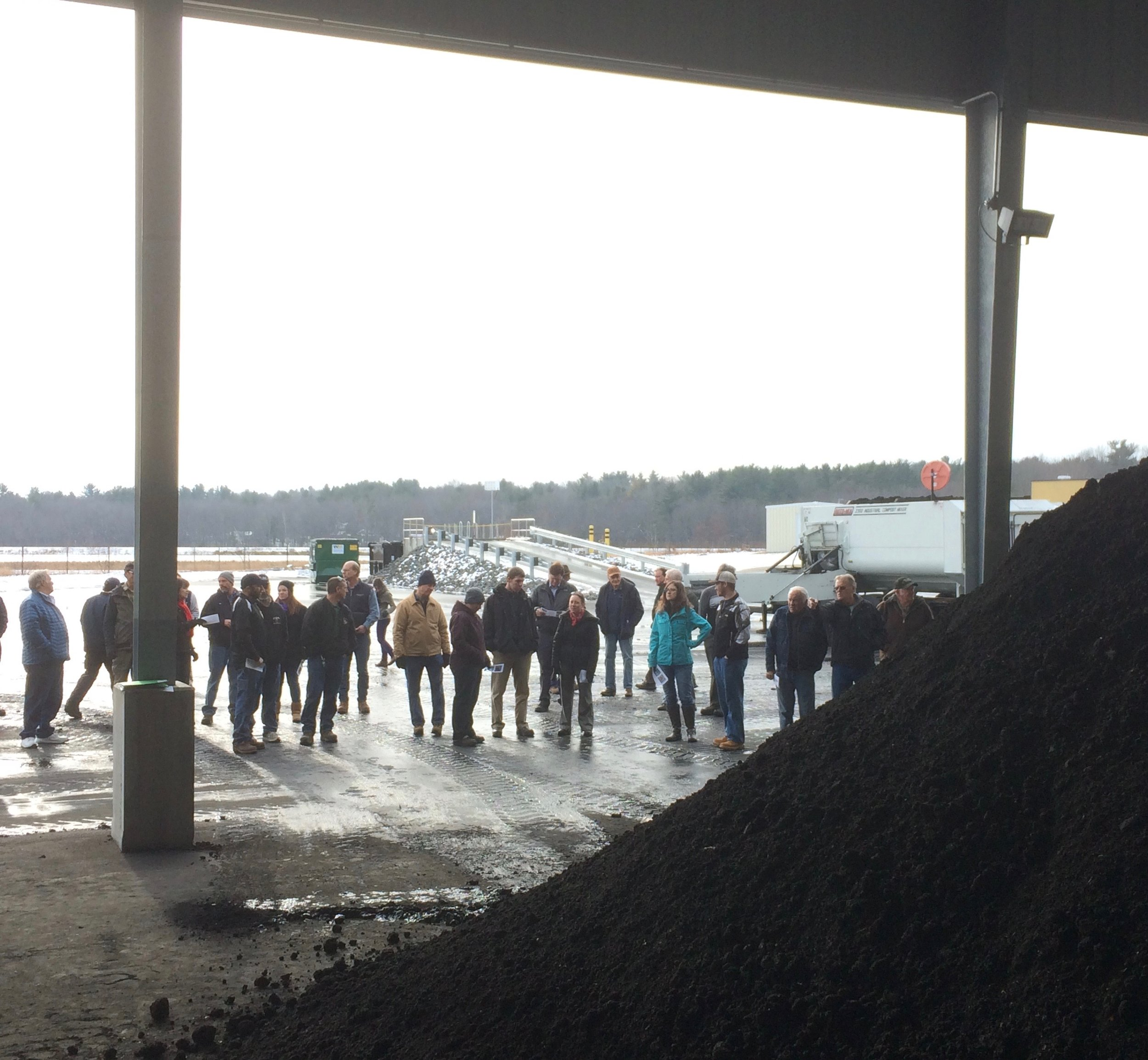Attendees at the Sanford Sewerage District witnessed the production of the first batches of biosolids compost at New England's newest biosolids composting facility.