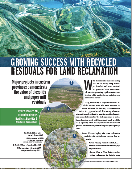 Fall 2017:  Canadian Land Reclamation  article.   Download a copy .