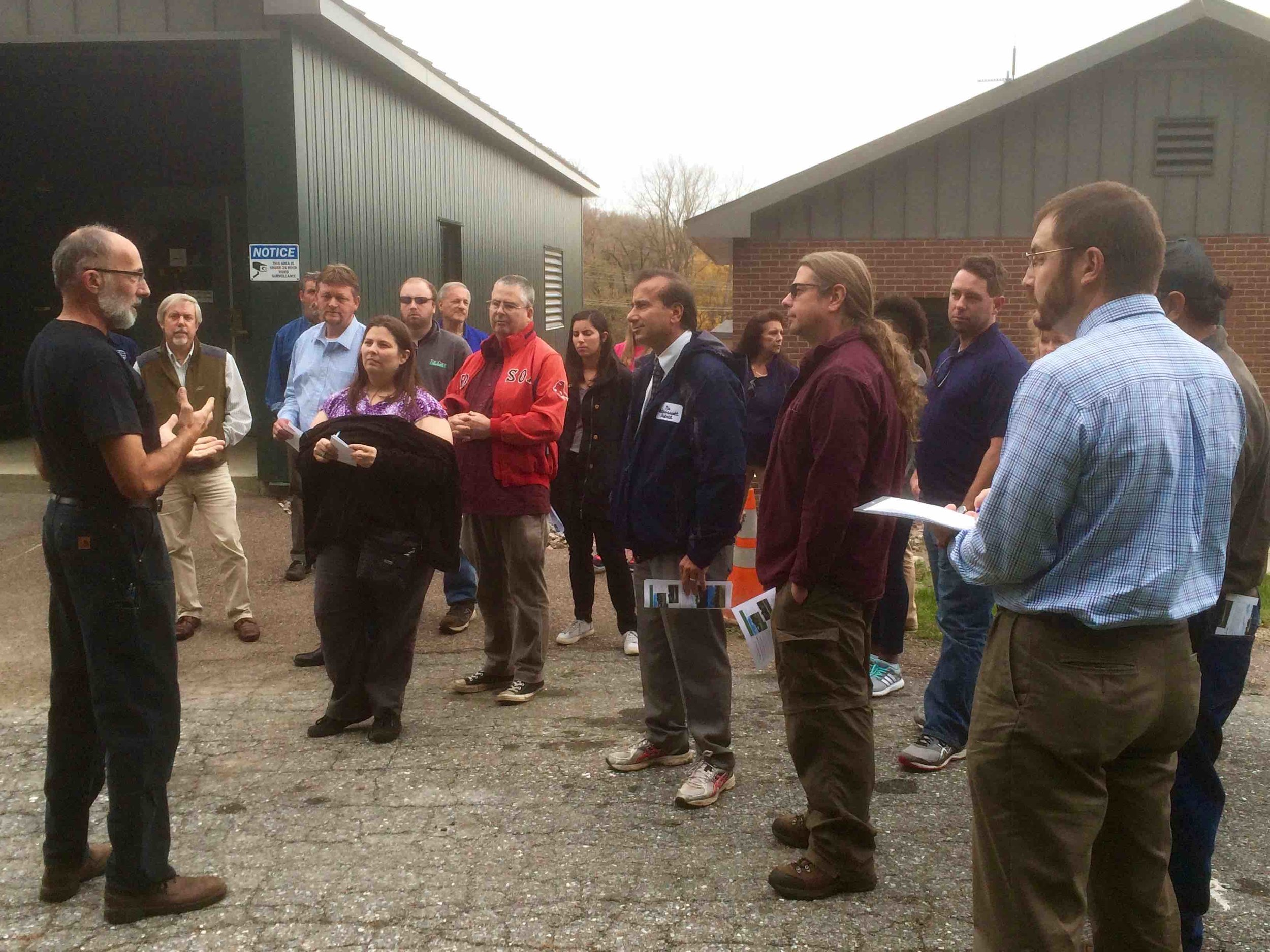 Jim Jutras (left) leads the tour at the Essex Junction WRRF.