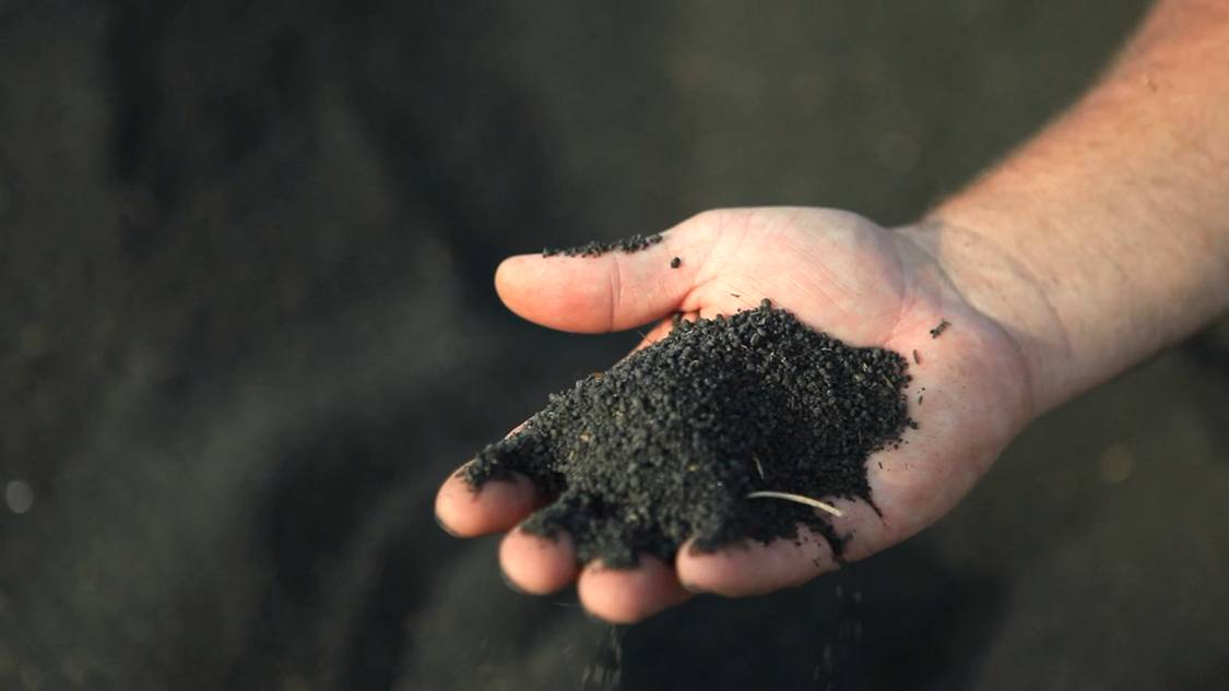 dried, pelletized biosolids fertilizer