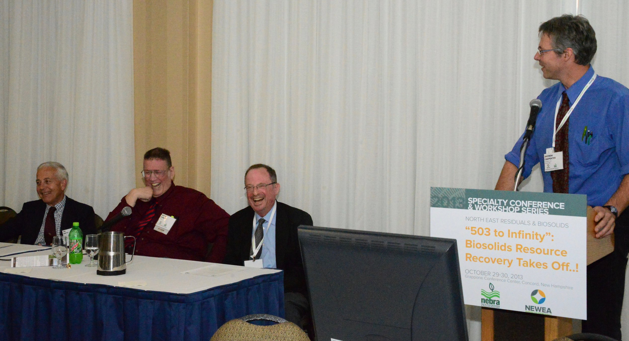 Jim Smith (left), Rufus Chaney, and Alan Rubin (center) are celebrated at the 2013 Northeast Conference, introduced by Andrew Carpenter (right).
