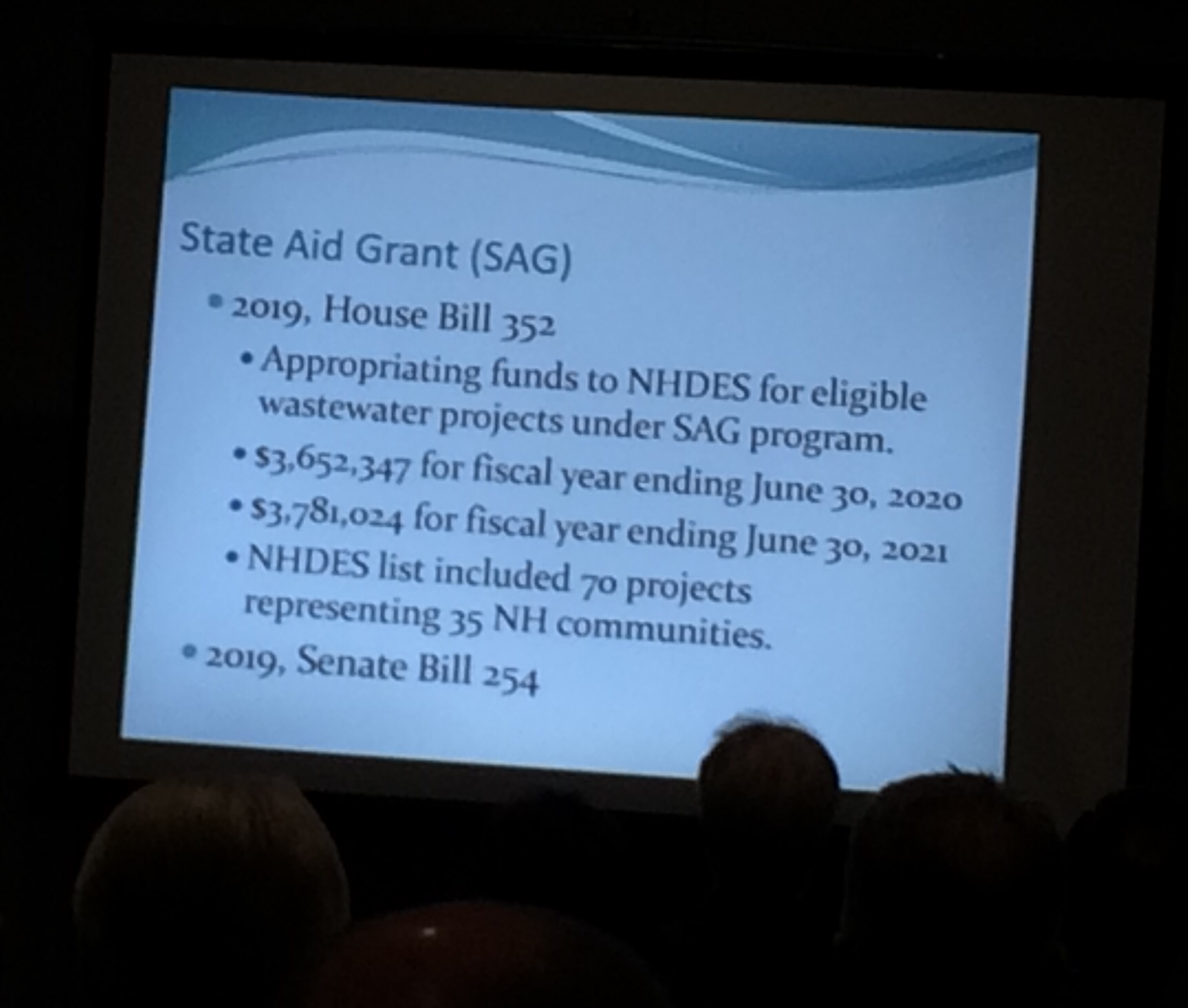 State Aid Grant (SAG) funding is a perennial discussion in the NH legislature, as reported at the NEWEA conference by Tracy Wood, NH DES.