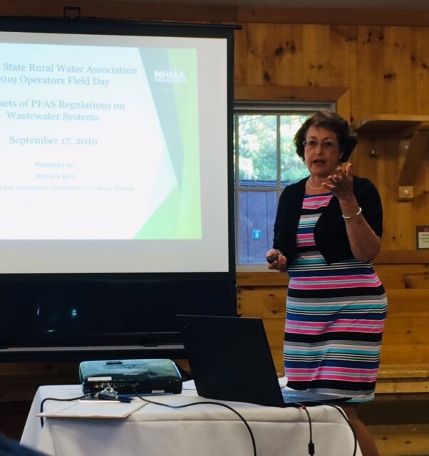 Barbara Reid of the NH Municipal Association and NEBRA's Ned Beecher were honored as co-recipients of the Rural Water Advocate award at the annual Granite State Rural Water Association Operator Field Day, Sept. 17th. Barbara also presented to a packed room regarding impacts of NH PFAS regulations on costs borne by utilities.