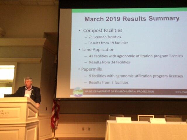David Burns, Director of waste bureau at Maine DEP, speaks to the PFAS Summit, Sept. 13, 2019.