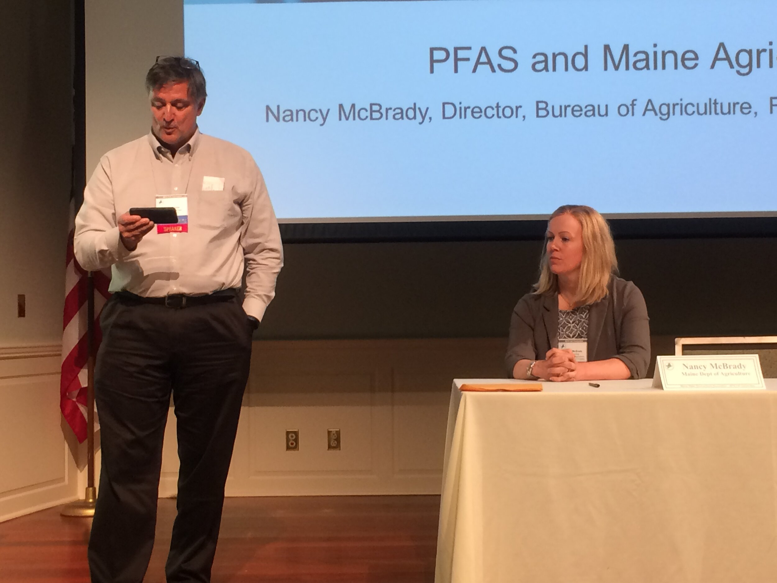 Jeff McBurnie, Casella Organics, introduces Nancy McBrady, Director, Bureau of Agriculture, Food, and Rural Resources of the ME Dept. of Agriculture, Conservation, and Forestry.
