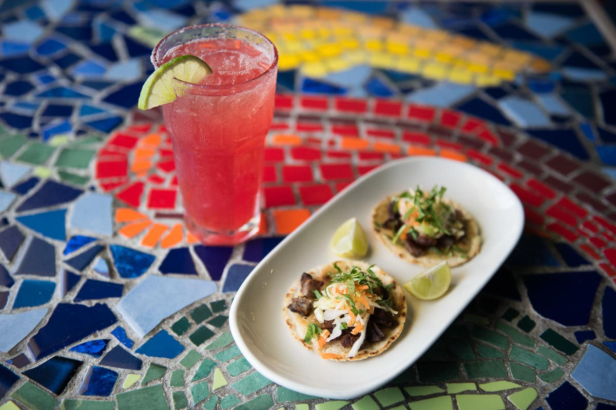 Prickly Pear Margarita and Crispy Pork Belly Tacos | Photo Credit: Find. Eat. Drink.