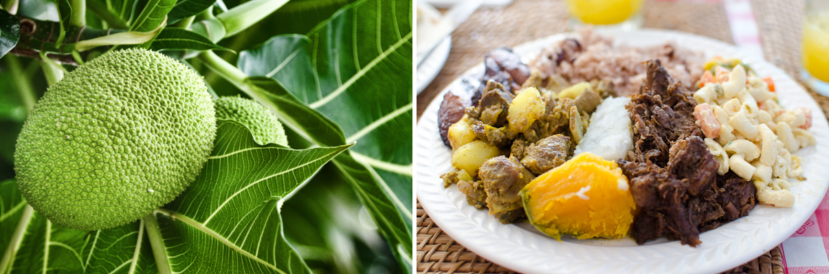 Breadfruit (Photo Credit: notsogoodphotography / flickr) | Curried Goat, Beef Stew, Breadfruit and Pumpkin at Vivine's Kitchen (Photo Credit: Find. Eat. Drink.)