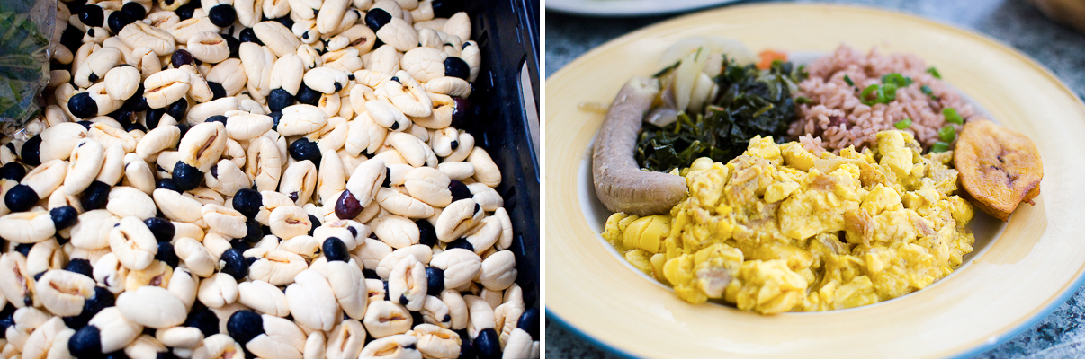 Ackee at the Market at the Grounds (Photo Credit: Find. Eat. Drink.) | Codfish and Ackee at Over The Edge (Photo Credit: Find. Eat. Drink.)