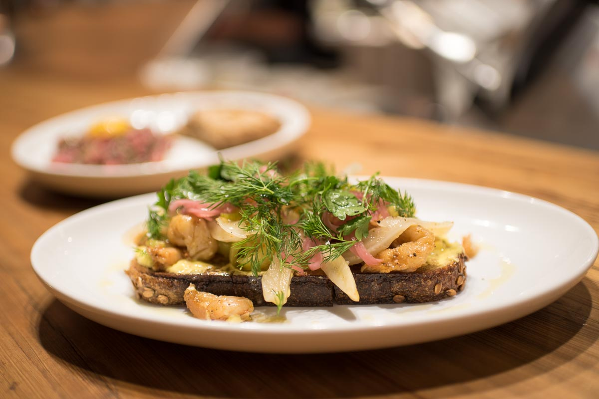 Pickled Shrimp & Root Baking Co. Rye Bread at Edmund's Oast | Photo Credit: Find. Eat. Drink.