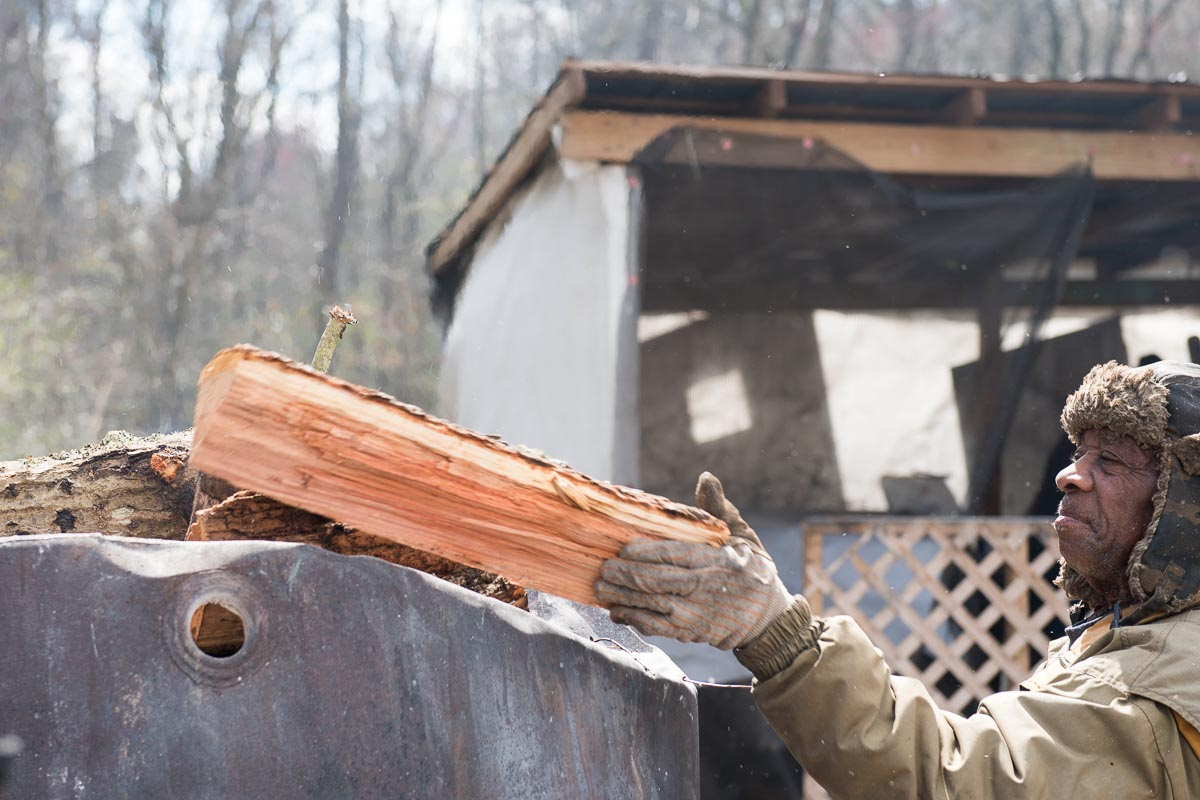 Loading Wood on the Burn Barrel