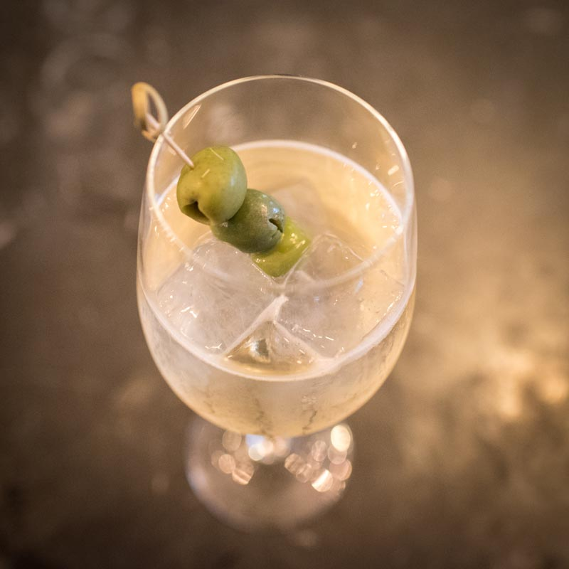 Italicus Spritz with Italicus, Prosecco, Soda Water, Castelvetrano Olives. Photo Credit: ©Find. Eat. Drink.