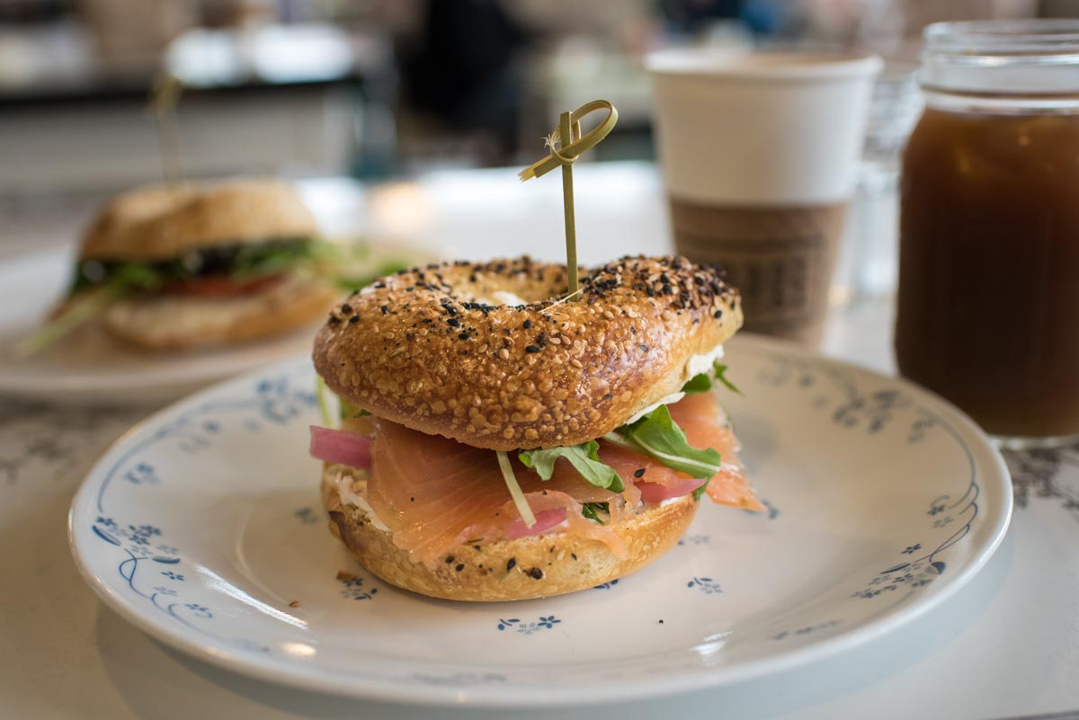 Smoked salmon on an Everything bagel at Forage Market  | Photo Credit: ©Find. Eat. Drink.