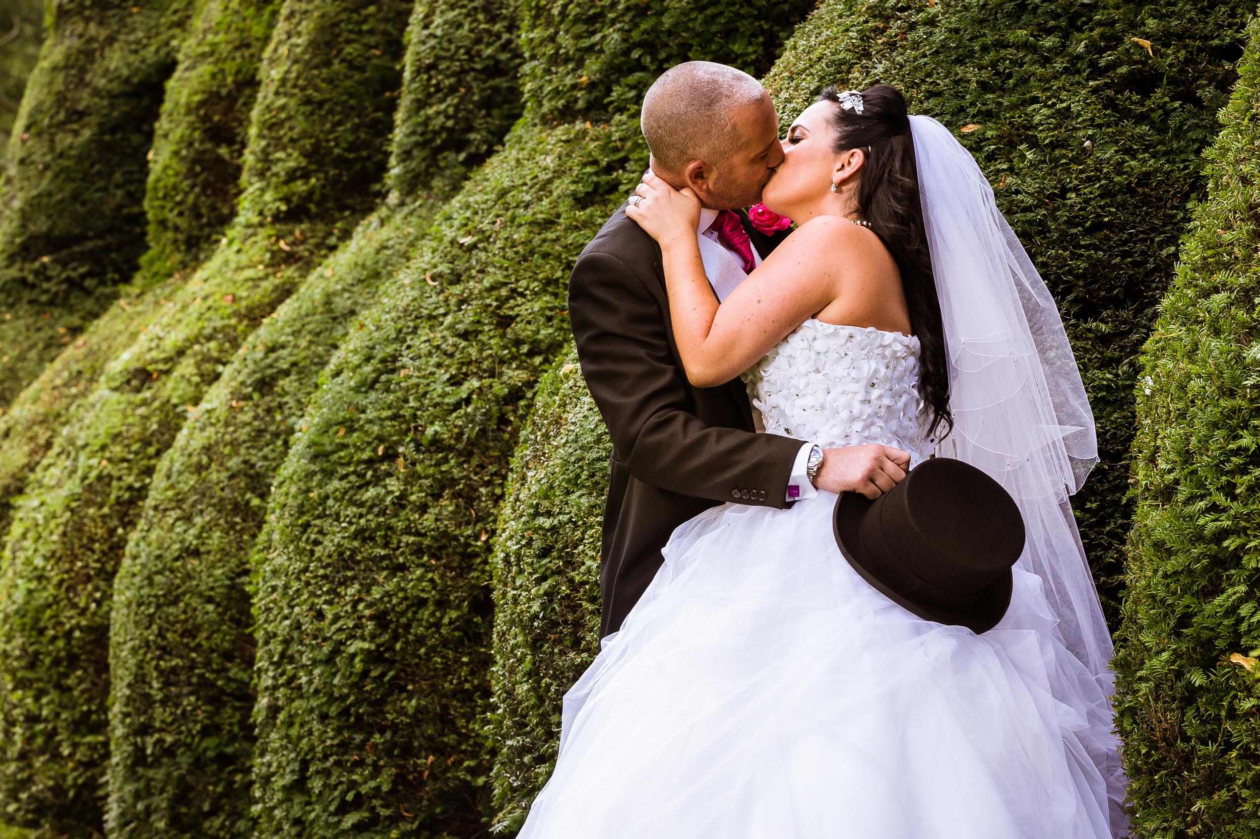 Kent - Wedding – Knowlton Court – Couple – James & Louise –  Romantically Kissing