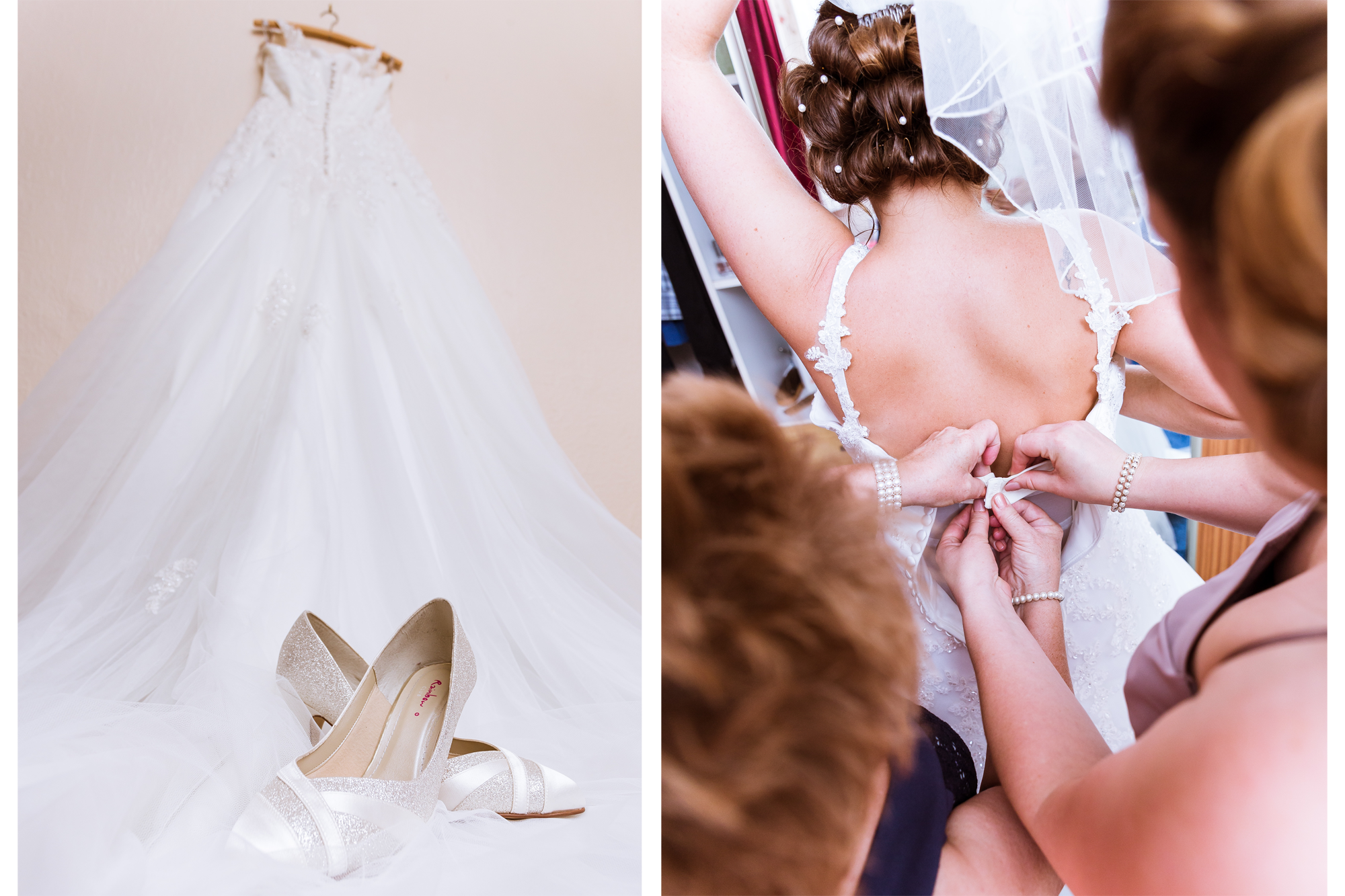 An image of a wedding dress, and the bridesmaid and mother of the bride putting on sarah's dress