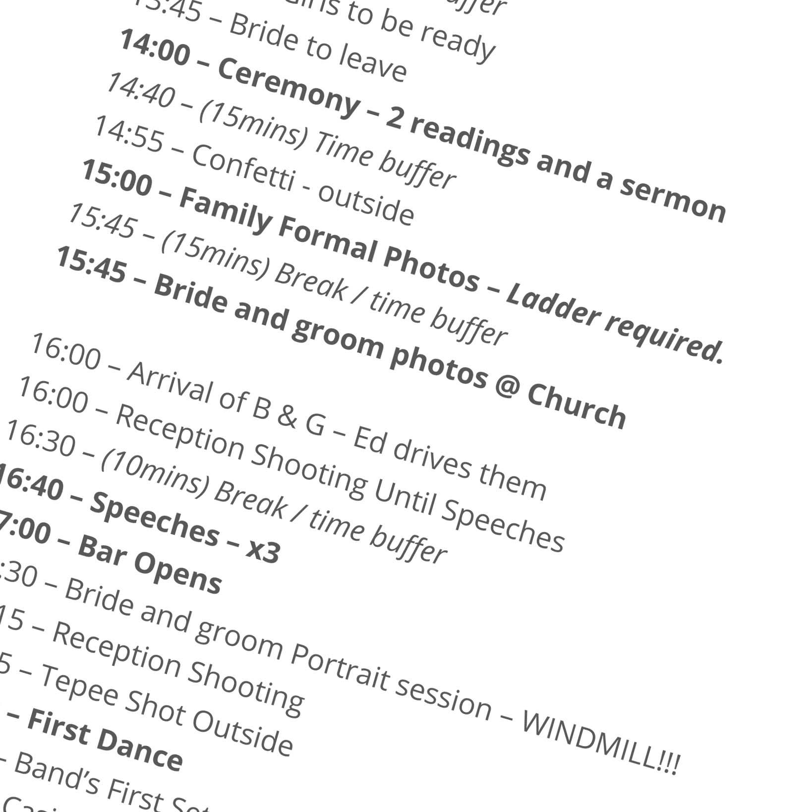 Kent Wedding Time Line