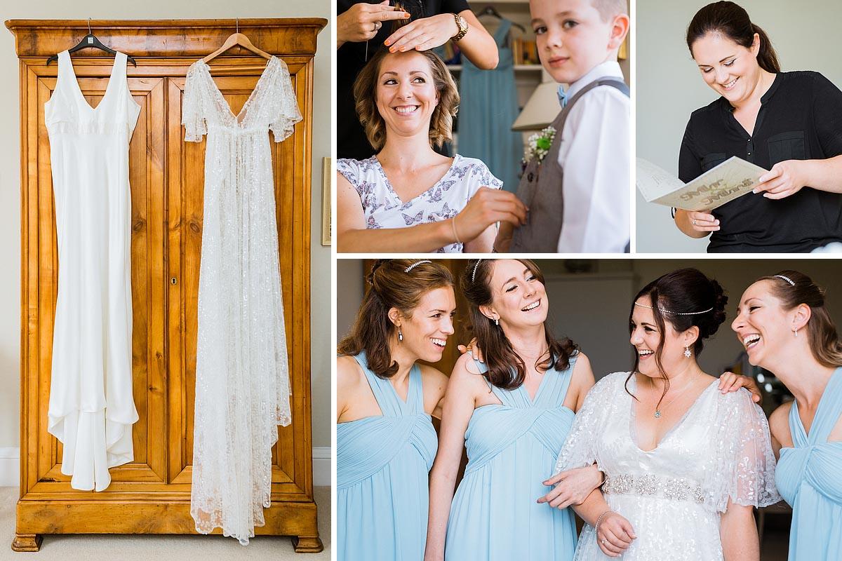 Starborough Manor Bride getting ready, wedding dress, Bridesmaids