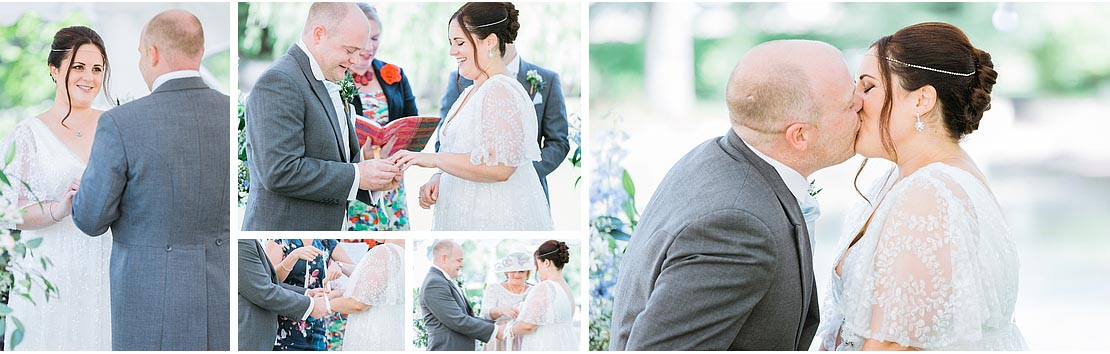 Kent Wedding at Scarborough Manor in the garden, first kiss, ring exchange