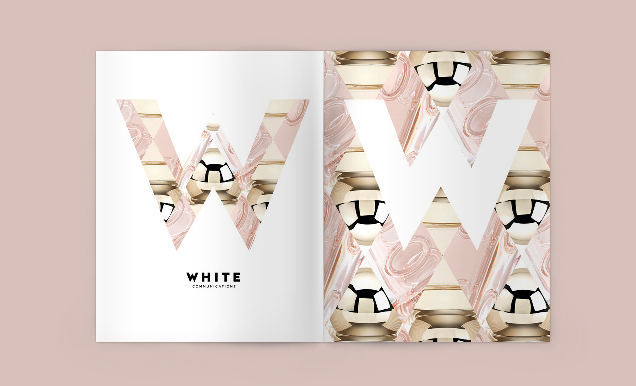 White Communications, Munich: corporate identity. this was a magazine advertisement in a publication for a fragrance event in Berlin.