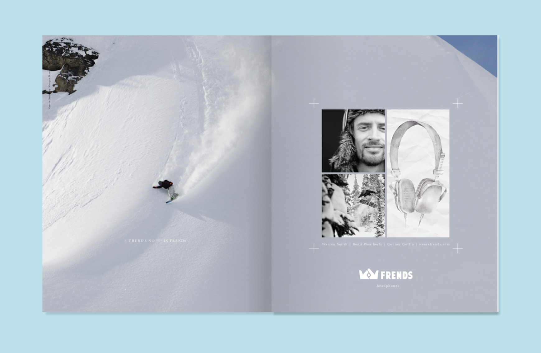 series of frends headphones ads for Transworld Snowboarding and Surf.  This one was for Nicolas Mueller.