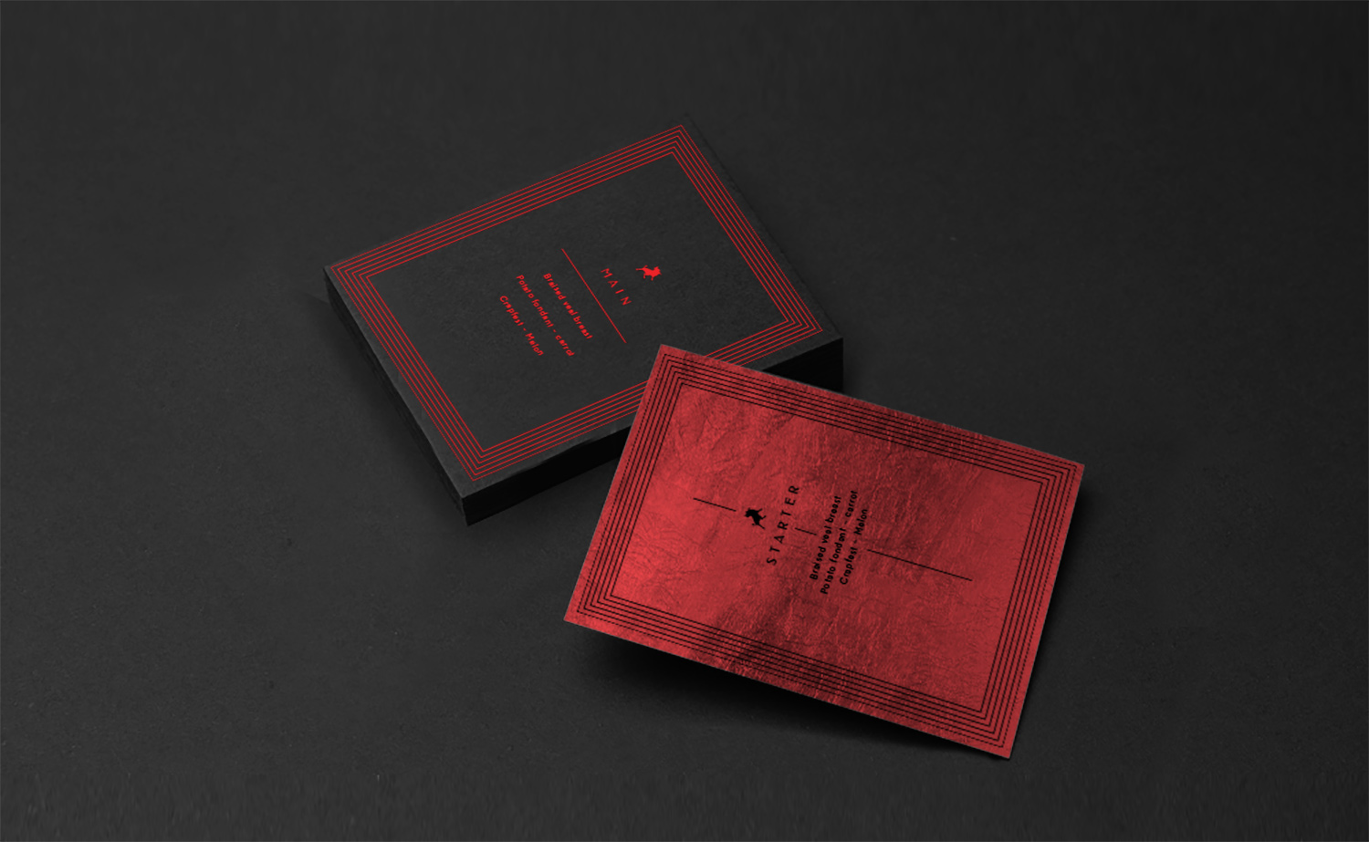 influencers diner for lois jeans; menu stack of cards, red foil on 400 grammes cardboard.
