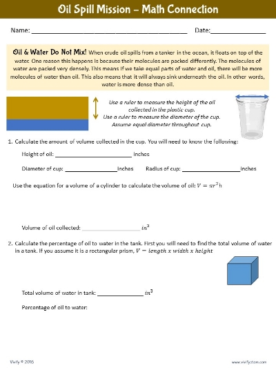 Math extension problems for oil spill challenge.
