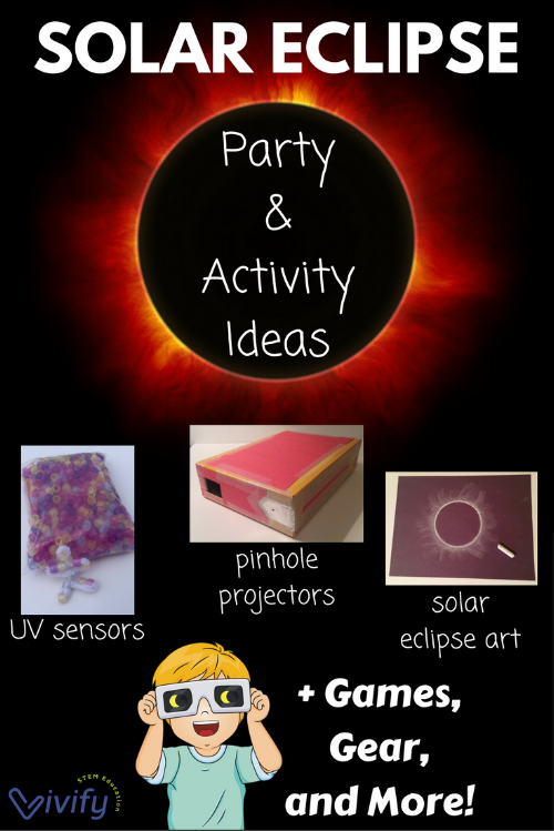 Solar Eclipse themed activities for home, classroom, or event including a guide and ideas on hosting your own solar eclipse viewing party!