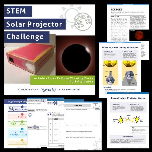 STEM engineering design challenge where the mission is buiding a pinhole projector to protect your eyes while watching the solar eclipse.