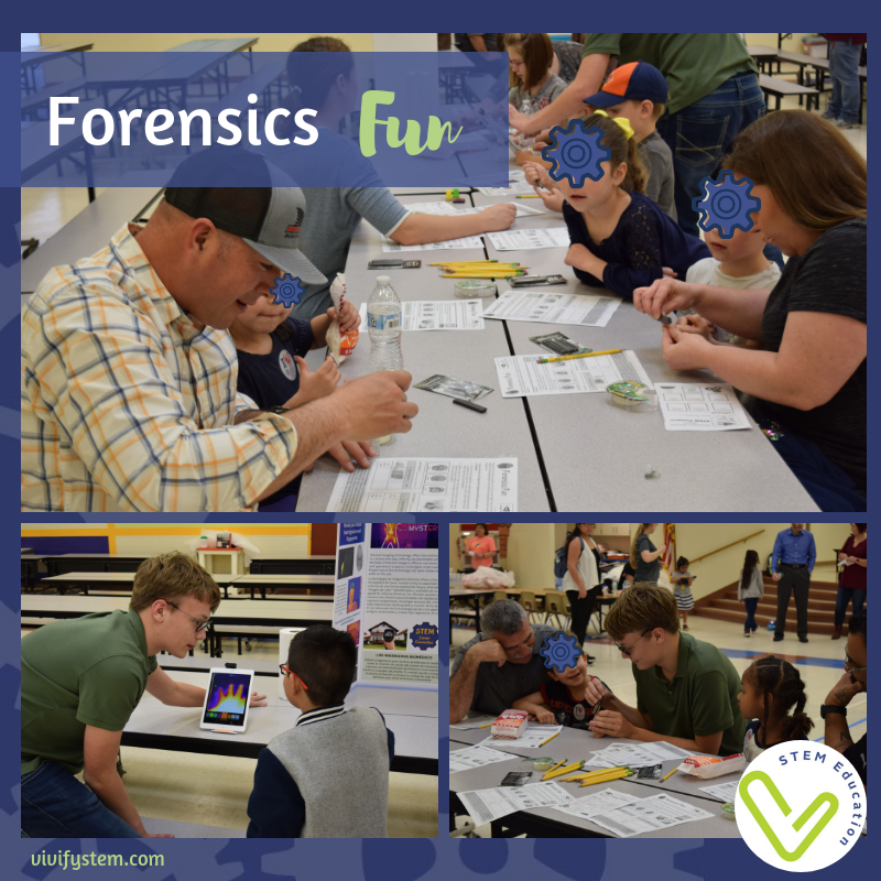 Students explore forensics with a heat sensor and fingerprints.