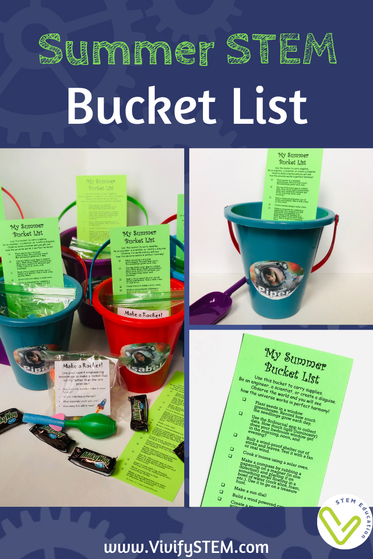 Free printable Summer STEM Bucket List student gift by Vivify STEM.