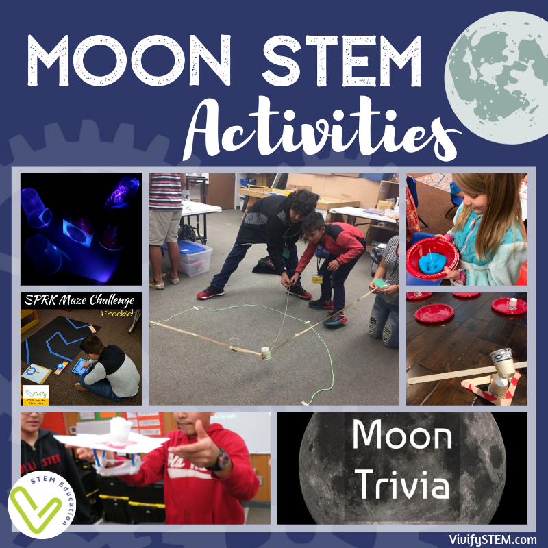 STEM activities to celebrate the 50th anniversary of the Apollo Moon Landing and learn about the moon.
