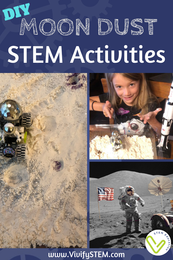 Make your own Moon Dust (Moon Sand or Kinetic Sand) with this easy recipe, then add some STEM activities!
