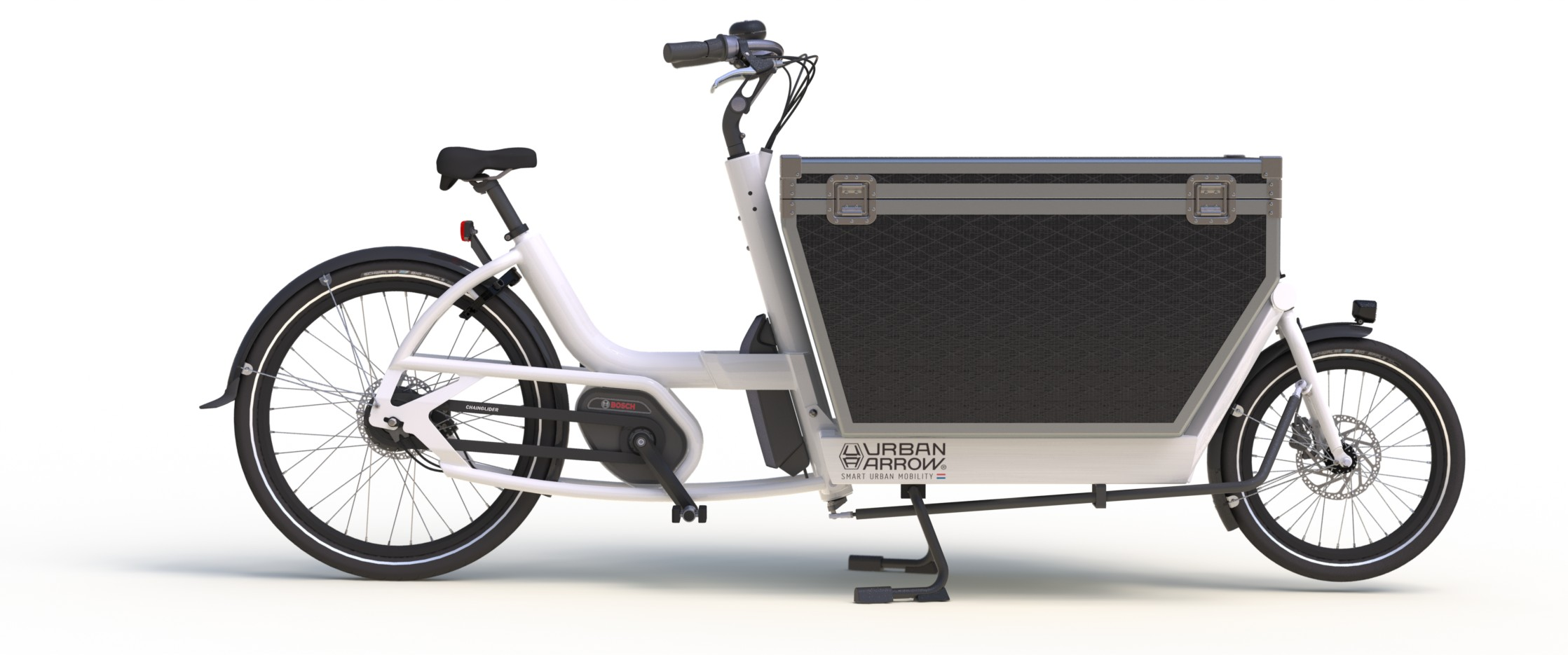 Urban Arrow Cargo.  The  Cargo is the ideal alternative for a small van. Only better; it replaces the last mile with the last green mile; the  Cargo doesn't emit CO2 or any other polluting particles. What's more it is fast, efficient, and doesn't make a sound. Thus supporting a cleaner environment. And a cleaner image, of course!