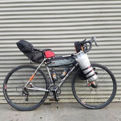 Joe's bike set up with frame bags