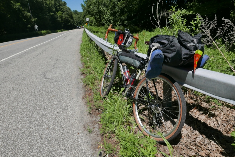Pit Stop on Croton Turnpike in Yorktown Heights. Bike weighed 29 lbs, with gear 46.7 lbs (17.7 lbs of gear)